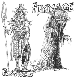 Illustrations for the Flyguard and Flymage, from the article The Flymen from White Dwarf #23 (Feb/March 1981).  This article also contains stats for generic Flyman drones, warriors and artisans.  There are only fifteen Flyguards and five Flymagi per hive, which makes these unique creatures the leaders of their species. The article also includes information on the northern barbarian-esque Northfly and the desert-raider-esque Sandflies.  More fodder for DCC, methinks.