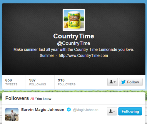 omgponiez:  Just so you know, Magic Johnson follows 138 Twitter accounts, and one of them is Country Time Lemonade.