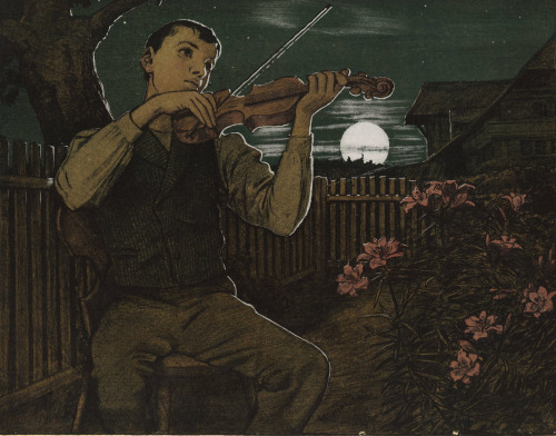 Hans Thoma (German; 1839–1924)Violinist Playing in a Moonlit GardenLithograph printed in colours with highlights in silver, ca.1900 The British Museum, London; © The Trustees of the British Museum