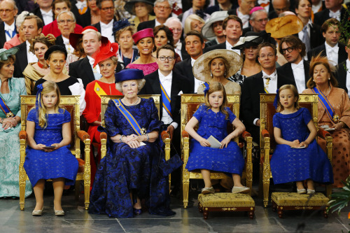 surisburnbook:  So the Queen of the Netherlands officially abdicated her position today, and her son, the now-King Willem-Alexander, took her place. That means  that these three little girls, literally sitting here in thrones with their grandmother the has-been Queen, are the first, second, and third in line for the Dutch throne. (Whatever the Dutch Queen job entails, it can't be much more than cracking champagne bottles on cruise ships, which is pretty much my dream job.) The biggest one, Princess Catharina-Amalia, is now the Princess of Orange, and is the first woman in history to hold that title in her own right. Crap, I don't know what any of this means, only that there are three little girls who I hadn't heard of last night but am now extremely jealous of.  you'd think someone would have taught that middle girl to sit w/ her legs closed by now. i mean, for goodness sake, she's literally a PRINCESS. that said, i kind of love her 'come at me bro' look she's got going on there.