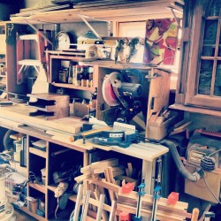Urban City Wood Shop. We might not have a huge shop to work in or the most expensive tools. In fact most of what's in our wood shop has been here for over 50 years. Hand me downs from my grandfather. But we make do with what we got and we love what we do and  standby our work 110%. #urbancitybikeshelves #thecuttingboardproject #fatherandson #woodshop