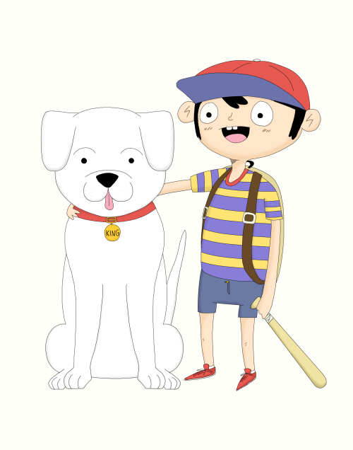 Finally, after long last, I have finished the Earthbound piece for Press Paws, which is a charity event that is raising money to help find owners for dogs. It is definitely a worthy cause to support, and I suggest you going.  If you go and take a picture of my submission (I live on the east coast, so I won't be able to attend) I will forever love you. Just make sure to send me the pic so I can reblog it!