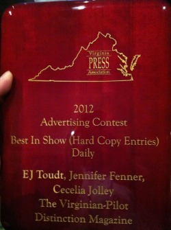 We won Best In Show at The Virginia Press Awards!
