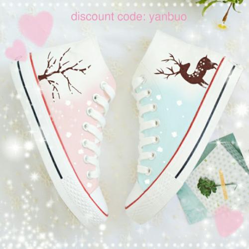 Harajuku Fashion high top shoes canvas shoes christmas theme pastel shoes idk spons