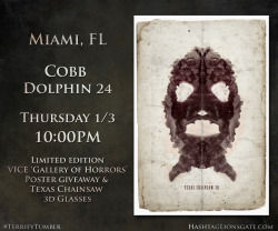 "Miami, FL - Get ready for the return of Leatherface…  On Thursday Jan 3rd at 10 PM, hit up Cobb Dolphin 24 to catch a special Tumblr Screening of #Texas Chainsaw 3D. You'll walk away with custom Texas Chainsaw 3D-glasses from RealD and an exclusive limited edition Vice ""Gallery of Horrors"" poster. Click the picture to buy tickets now!"