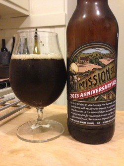 thedailybrewsf:  Mission St. 2013 Anniversary Ale (from Trader Joe's). A 2 of 4. A solid imperial brown - some nice nutty notes in the nose, as well as some slightly weird dark fruit and toffee notes. Some almost-molasses-y sweetness in the body, and a bit too much of it. Needs some balancing bitterness, but not bad at all - the sweetness fades in the finish, so it drinks pretty easily.