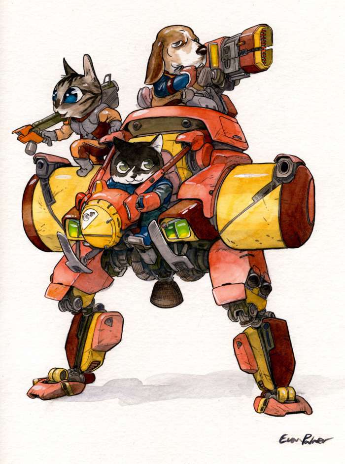 evanpalmercomics:  The light assault walker mech! Finally, dogs and cats playing together. Mass hysteria! You can buy a print of this here.