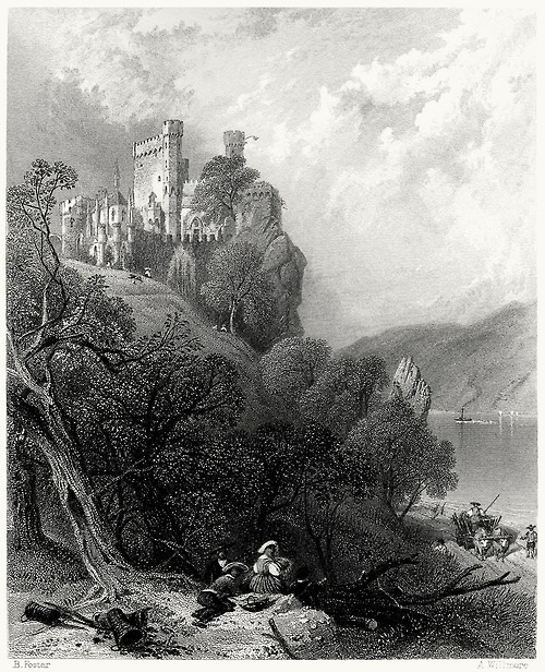 Burg Rheinstein.  Myles Birket Foster, from The Rhine and its picturesque scenery, by Henry Mayhew, London, 1856.  (This Birket Foster series goes out to athousandwinds)  (Source: archive.org)