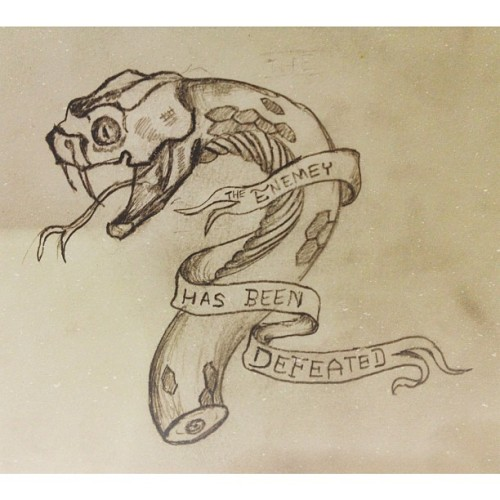 Random tattoo idea #sketching #snake #tattoos #tattooidea  (at Cafe Velo)