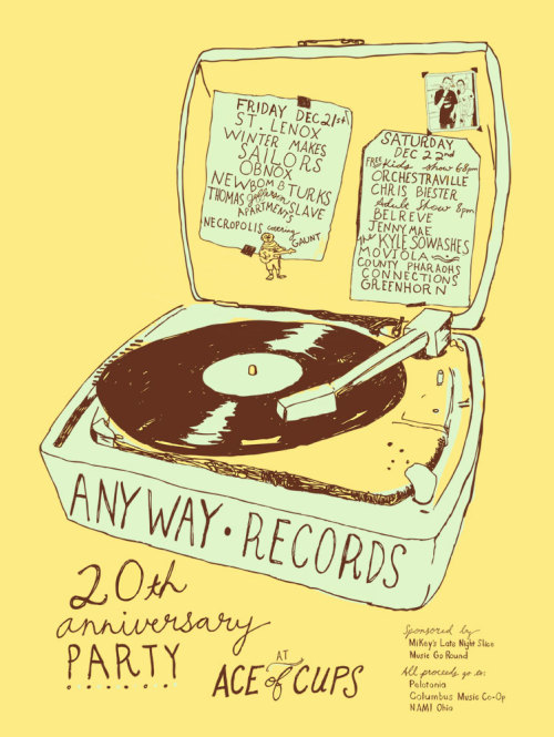 Poster design for Anyway Records 20th Anniversary Weekend at Ace of Cups. Hand-drawn/Digital version  2012