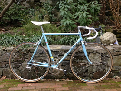 Classical steel frames will always have a spot in my heart. i will always want one. and that blue and that name make this one so perfect. I especially love seeing classical frames with new groupsets.