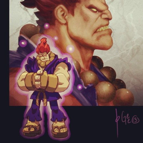 #Akuma JoGee collabo with @joverine (head shot) lil guy by me. See it drawn here www.livestream.com/jogeetv #howto #drawing #art #painting #capcom #streetfighter #gouki #demon #angry #ginger #beads #digital #cintiq #livestream #show