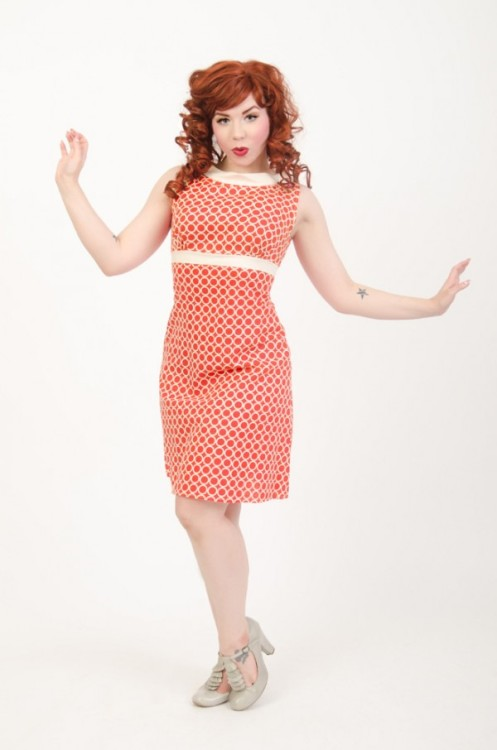 heartbreakerfashion:  The Fifi Dress in Orange Orbit, $84 Model: Ludella Hahn, Photo: Evan Smith heartbreakerfashion.com