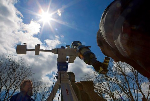 Today is the FIRST DAY OF SPRING, so the Ladd Observatory allowed people to safely observe the Vernal Equinox through their nifty telescope.  (Source)