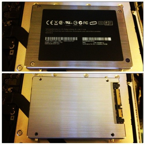 Step 2: upgrade hard drive to a Solid State Drive, Replace the DVD drive with a hard drive enclosure to have older primary hard drive still used as a secondary hard drive. #wallembp