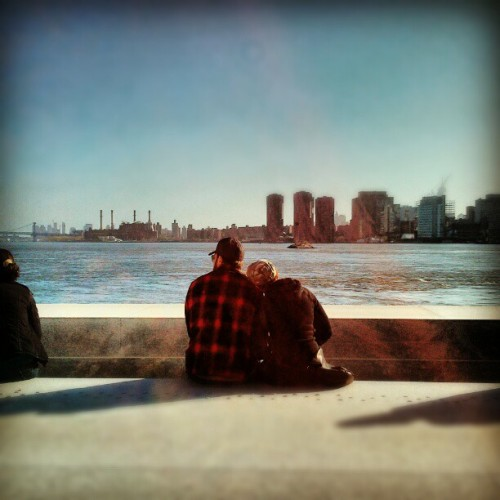 Four Freedoms Park sits at the southern tip of Roosevelt Island. Where water meets stone, a young couple looks out over the East River #latergram