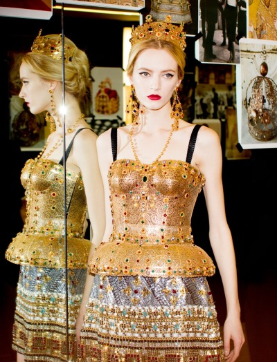 threefolds:  daria strokous backstage at dolce & gabbana | fall 2013