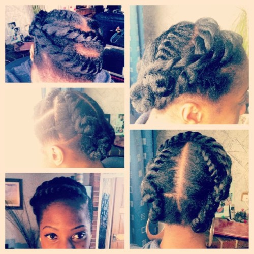 LoRo's Hairstyles | Big Twists Protective Style | April 13  Haven't posted a fresh hairstyle on Tumblr for a while now, apologies. Life..busy… Etc 😁  This hairstyle came about because I needed something QUICK, protective & I saw a lady with big twists pinned up.   I sectioned the hair into 3 parts horizontally.  The 1st section was divided into 3 vertically but the middle section was the biggest. The smallest sections were flat twisted back and the middle section had two twists to the side and were Criss crossed pinned under the 3rd section.  2nd and 3rd sections were split in half and twists (flat twist, then chiney bump, and single twists respectively.)  Please Be inspired (As I was!) Be Afro-licious/Fabulous, Be You. 👍👏😄❤💃💋  @RochelleLoRo  rochelleloro.tumblr.com Facebook.com/RochelleLoRoPoet #teamnatural #twists #naturalhair. #LoRosHairstyles #LoRosHair #teamnatural #hairstyles #DIY
