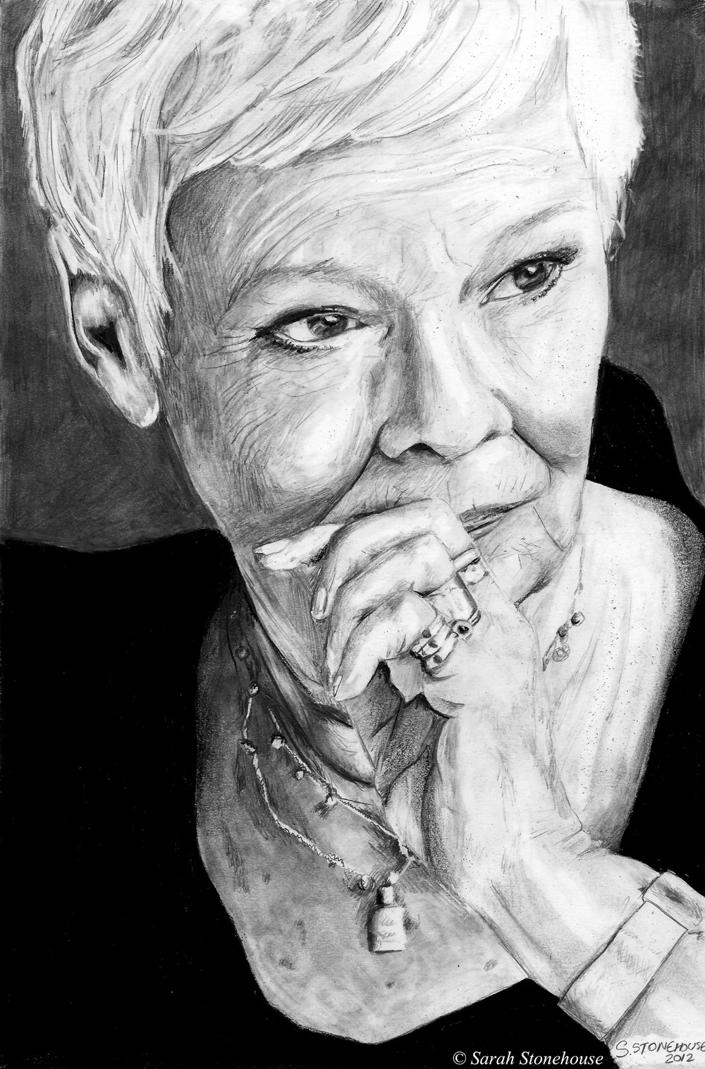 "Judi DenchA4, graphite pencilsApprox 5 1/2 hours takenDrawn by Sarah Stonehouse (http://mydustlandfairytale.tumblr.com)  … because I frickin' adore this woman. ""Of course I have a temper. Who hasn't? And the older I get the more angry I get about things. It's not sudden anger, it smoulders and then if I really let it go on for a bit the shit hits the fan. I get very angry about general injustice. I get angry about the way people say 'Tomorrow X will make a speech about X'. Just let them say it. I get furious about the whole business of not allowing conkers in school, and banning things because they are supposedly dangerous. I am riveted by the current Iraq inquiry, though angry already because I feel it will end with a report and nobody's actually going to be arraigned for what happened."""