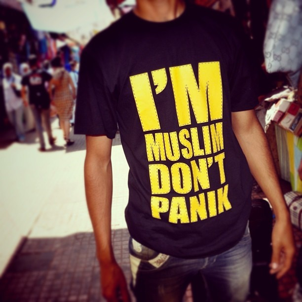 """I'm Muslim, Don't Panik"" = Best t-shirt ever. #peacecorps #morocco #latergram"
