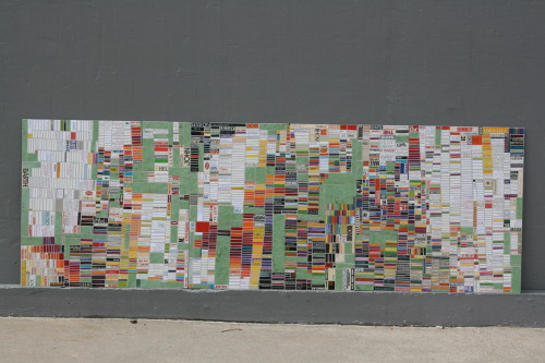 "lauriefrick:  ""Green Tracking Time"" Cut found paper on aluminum, 24 in x 72 in, 2009  Awesome painting by Laurie Frick"