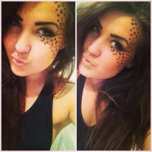 So, I was a leopard for the night. Makeup done by myself!