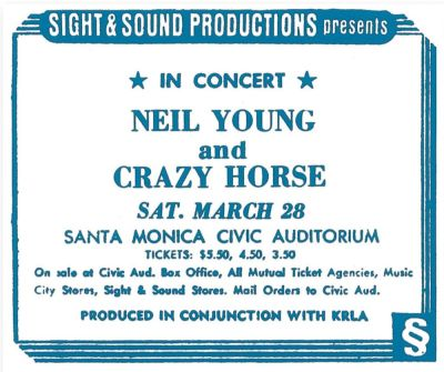doomandgloomfromthetomb:  Neil Young & Crazy Horse - Santa Monica Civic Auditorium, March 28, 1970 The last Whitten-era Neil & Crazy Horse show ever! Can you believe it. Thanks to Infinite Fool yet again. On the Way Home I Am a Child Everybody's Alone I Believe in You Birds Nowadays, Clancy Can't Even Sing Down by the River Wonderin' Come On, Baby, Let's Go Downtown Cinnamon Girl Cowgirl in the Sand Everybody Knows This Is Nowhere Winterlong