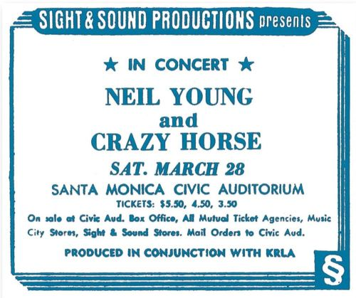 Neil Young & Crazy Horse - Santa Monica Civic Auditorium, March 28, 1970 The last Whitten-era Neil & Crazy Horse show ever! Can you believe it. Thanks to Infinite Fool yet again. On the Way Home I Am a Child Everybody's Alone I Believe in You Birds Nowadays, Clancy Can't Even Sing Down by the River Wonderin' Come On, Baby, Let's Go Downtown Cinnamon Girl Cowgirl in the Sand Everybody Knows This Is Nowhere Winterlong
