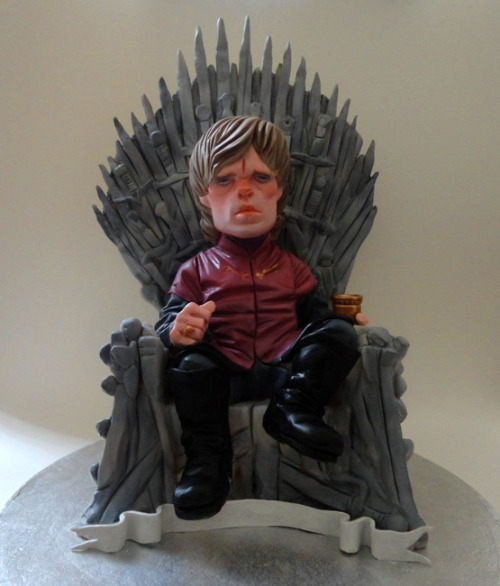 geekartgallery:  Tyrion Lannister Game of Thrones Cake by Cake Retro Modelling chocolate/ handpainted in edible sugar flair paints on sponge base with strawberry filling  REPEAT: A CAKE