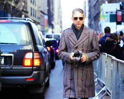 We love this new take on a pinstriped wool coat…Midtown West, NYC (via Snappy Lifestyle)