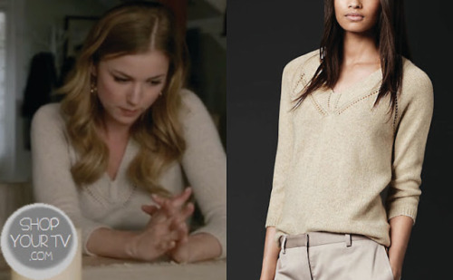 Emily Thorne (Emily Van Camp) wears this beige cashmere sweater in this week's episode of Revenge.  It is the Burberry Open-Stitch Detail Cashmere Sweater.  Buy it HERE for $795.