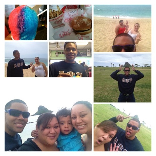 Family Friday. Went around the island with my sisters #krystalvw and #krissaundran and the little Mo'o #veronika . I felt like I gained a lot of weight today. Had and awesome time tho. #teddys #matsumotos #chinamanshat #oahuishome #daytrip #family.
