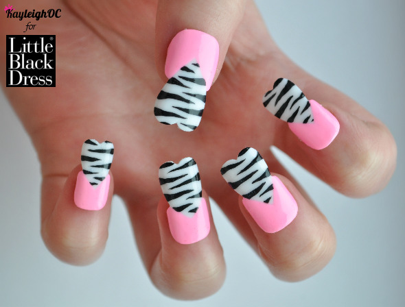 Funky-heart-shaped-pink-and-zebra-print-nail-art (phew, what a mouthful!) for LittleBlackDress.co.uk! Click here or on the photo to see the post, and my other new design - Marilyn Monroe. Hope you like them :) Happy Valentine's Day xx