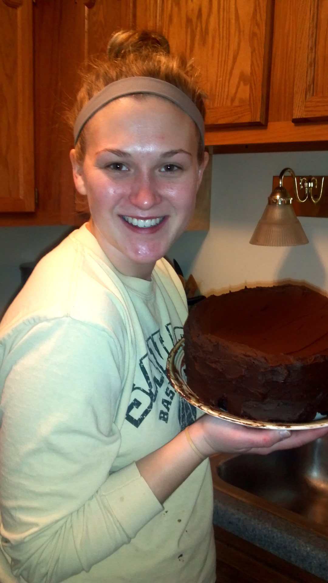 "This Chocolate Stout Cake was fabtabulous!!! You can find the recipe here.  Please don't mind my ""greasy, baking for four hours straight"" face."