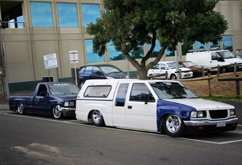Flashback to when my first truck was first bagged with no panel work done at all. (The blue one at the back) cruising along with breno's spacecab. #Bagged #minitruck #minitruckin #minitruckinmagazine #airbag #airsuspension #onsills #onsillsdotcom...