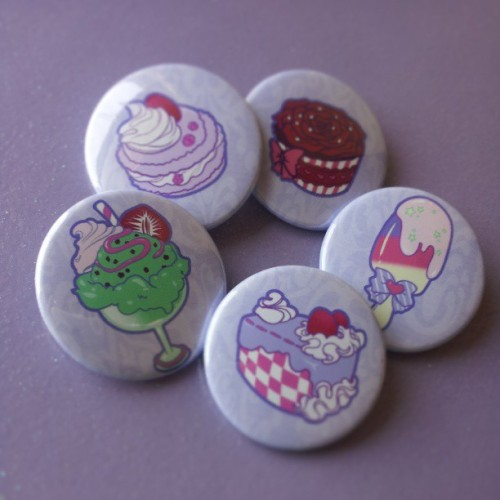 zambiunicorn:  Buttons available in the shop :) #button #sweets #fairykei #pins #badges