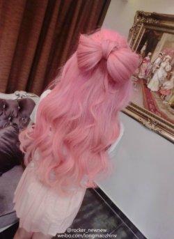 1k hair cute mine japanese kawaii pink Asian fashion Japanese Fashion jfashion bow hair afashion long mao zhin mao zhin long mao lmz