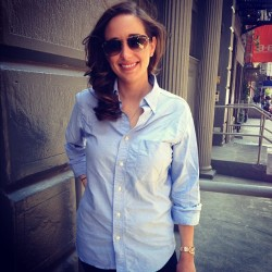 carsonstreet:  The beautiful @elledub29 in Carson Street's Blue Oxford