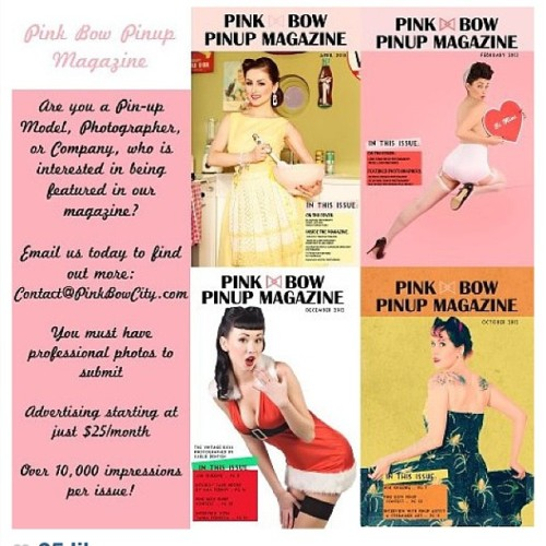 To all m pin up friends and photographers, the amazing pinup magazine by @pinkbowcity is looking for submissions. Follow the instructions on this photo and good luck! #pinkbowcity #pinkbowcitypinupmagazine#thevintagedoll #pinup #pinups #pinupmodels #pinupphotographers #vintage