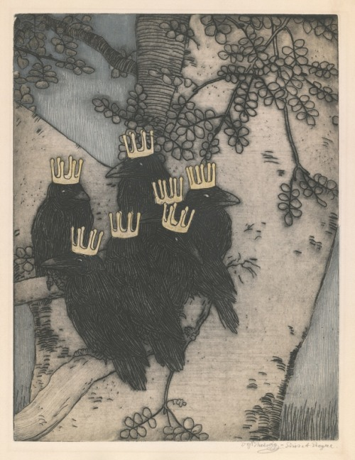 short-for-bob:  The Seven Ravens, 1903, etching, Vojtěch Preissig. (1873 - 1944) (via poboh)