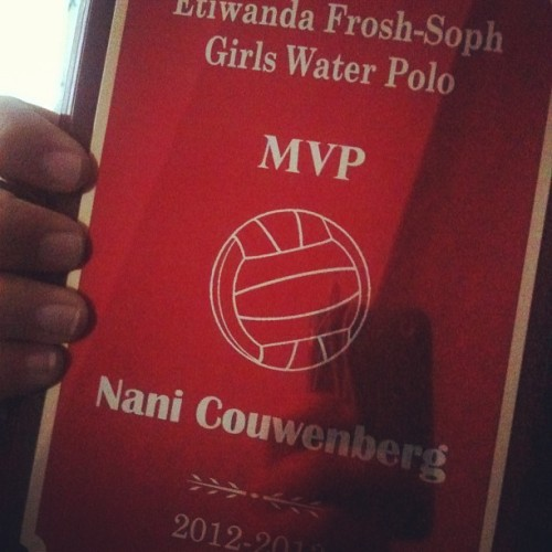 🏊MVP!!!🏊 @acouwenberg @acprojects @maile_rellish @smythchristine @cblum #mvp #waterpolo #water #polo #banquet #so #stinkin #happy #i #cant #believe #it #frosh #etiwanda (at Etiwanda High School)