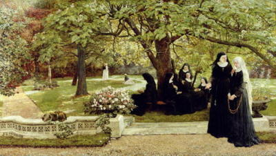 hubertmarsten:  Francis S. Walker, The Convent Garden, 1878 (oil on canvas)