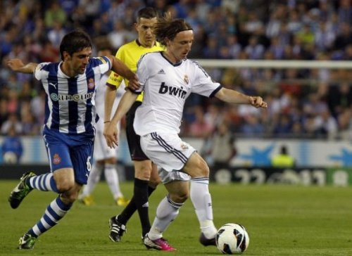 Luka Modric during a Spanish La Liga soccer match at Cornella-El Prat stadium in Cornella Llobregat, Spain, Saturday, May 11, 2013.
