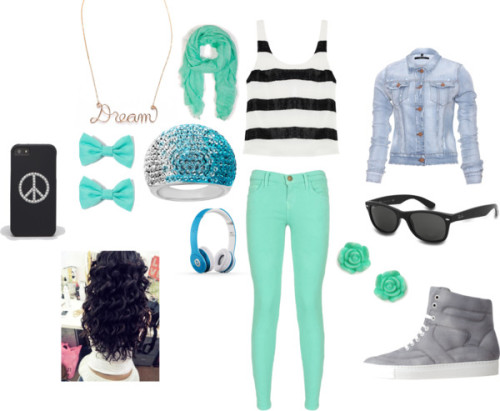 blue!! it is by mindlessgirl-13 featuring colorful sneakersAlice + Olivia graphic design shirt / J Brand slim fit denim jacket / Current elliott skinny jeans, $280 / Maison Martin Margiela colorful sneaker / Lord & Taylor fine sterling silver jewelry / Gauge pendant jewelry / Mint green jewelry / Faliero Sarti  scarve / Ray-Ban ray ban eyewear / Jimmy Crystal jimmy crystal / Forever 21  hair accessory / Beats Solo HD - On-Ear Headphones from Beats by Dr. Dre - Light Blue