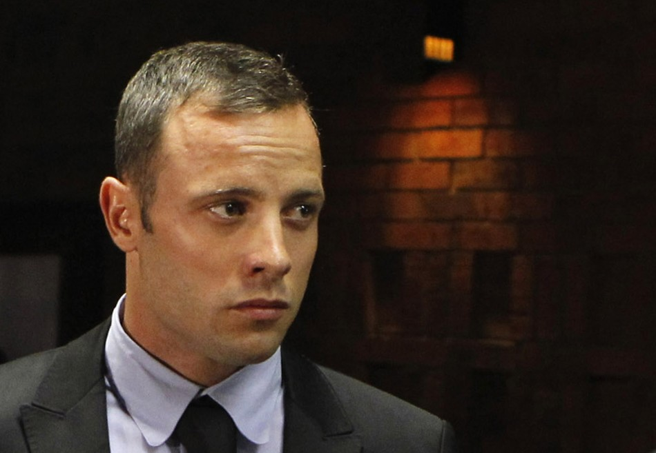 "Oscar Pistorius Bail Decision Due in Reeva Steenkamp Murder Case http://www.ibtimes.co.uk/articles/438166/20130222/oscar-pistorius-court-ruling-shooting-bail-prosecutor.htm ""Blade Runner"" Oscar Pistorius stands in the dock during a break in court proceedings at the Pretoria Magistrates court."