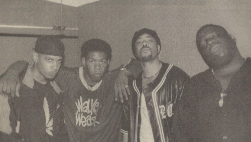 genevanheathen:  Notorious B.I.G., The D.O.C., Craig Mack, and Saafir at Riviera Theater, Chicago, 1995.  wow so much under-fulfilled talent in one picture.and craig mack too.