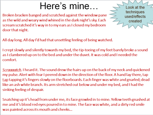 #CreativeWriting #Exemplar #Resource #Analysis #FeatureSpot #Mine I created this to use with year 9. I want them to identify ways of creating atmosphere. Here, I've used the weather. But I also want them to 'peer assess' and to suggest ways to change and improve.