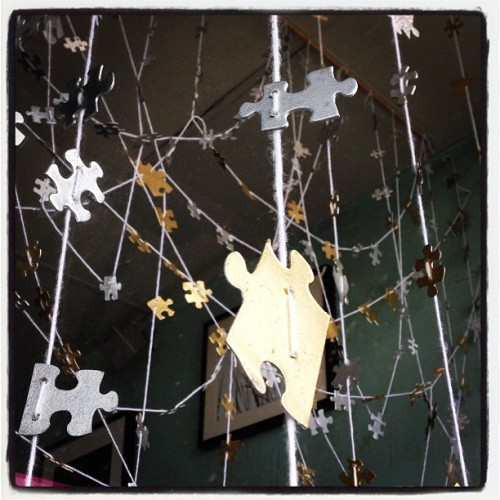 Puzzle piece window's last hurrah… (at Downtown Cowgirl)