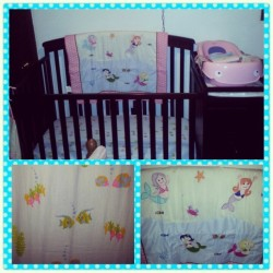 #Crib and bedding! Came with a cute bumper but im not putting in in there for safety reasons so we ar e going to find something else to do with it. #mermaids #baby #bed #fishies