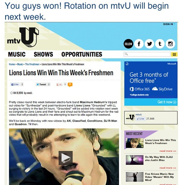 Thanks to all you guys who voted, we are gunna be on MTV next week! We love you all!